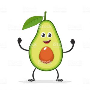 Happy smiling avocado. Funny fruit concept. Flat cartoon character icon. Vector illustration